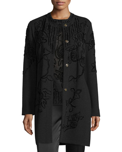 Chenille Crewneck Long Coat, Black