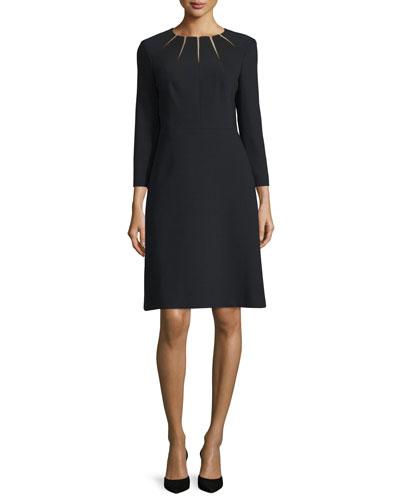 Bracelet-Sleeve Sunray Stretch-Wool Dress, Black