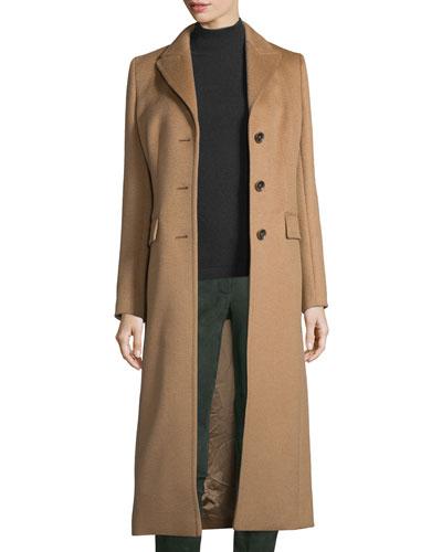 Long Camel-Hair Coat, Caramel