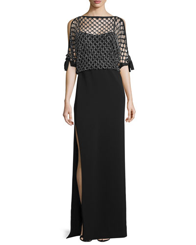 Beaded Diamond-Overlay Gown, Black