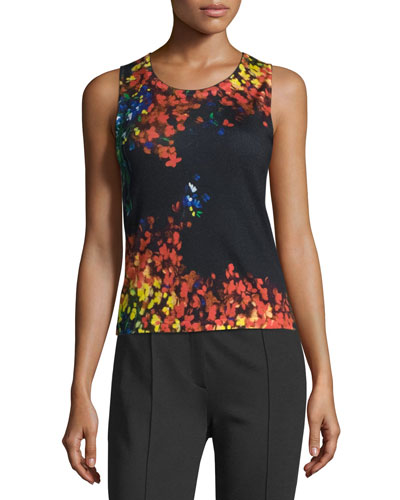 Floral-Print Scoop-Neck Tank, Multicolor