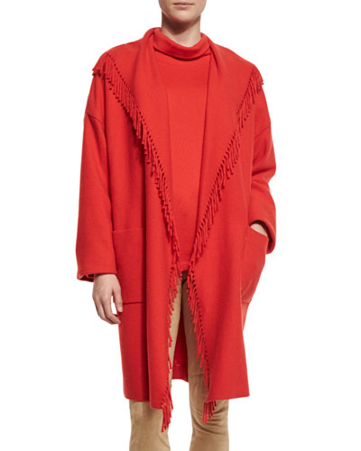 Fringe-Trim Open Coat, Red