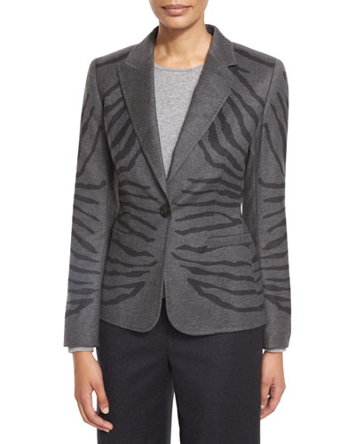 Zebra-Jacquard One-Button Jacket, Flannel