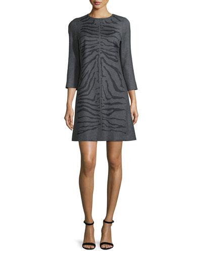 Zebra-Jacquard 3/4-Sleeve Dress, Flannel