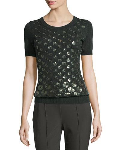 Eve Sequined-Dot Short-Sleeve Sweater, Fir