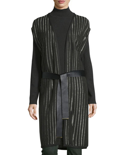 Belted Striped Knit Vest, Fir