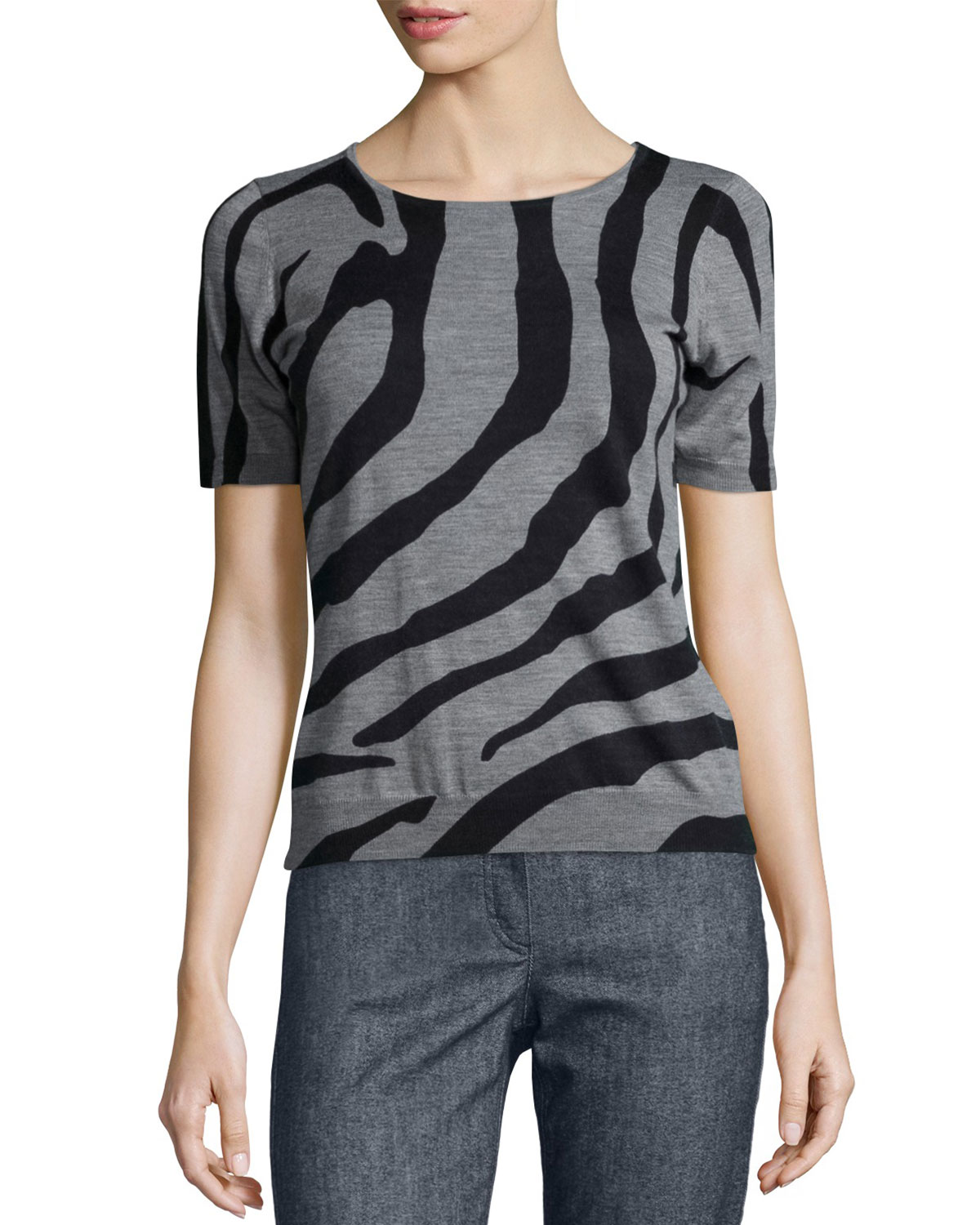 Zebra-Print Short-Sleeve Top, Multi