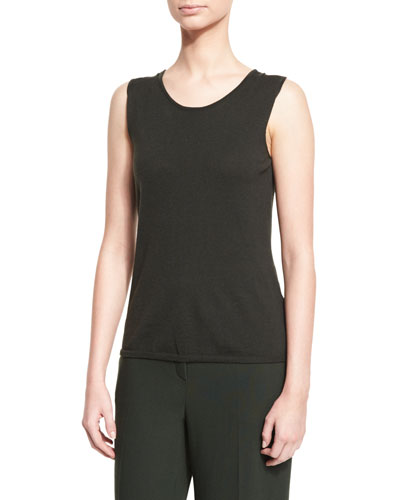 Scoop-Neck Knit Tank, Fir