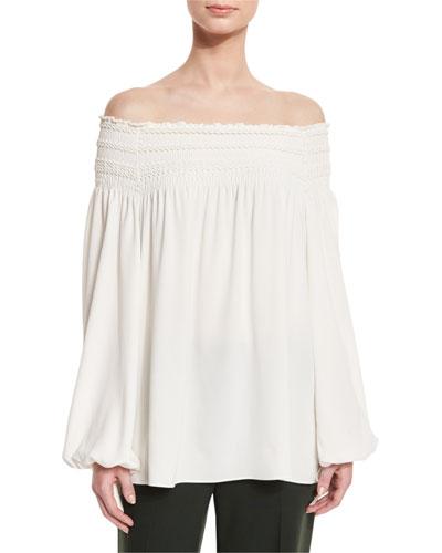 Smocked Off-the-Shoulder Blouse, Ivory