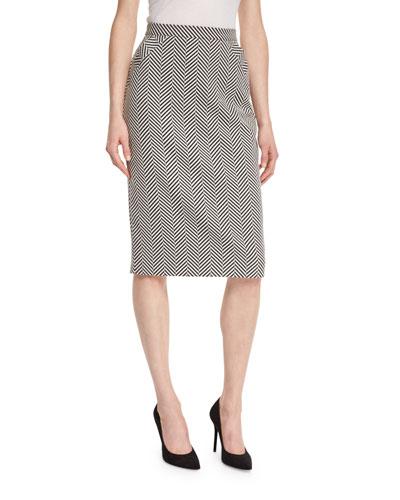 Herringbone Fishtail-Back Pencil Skirt, Black