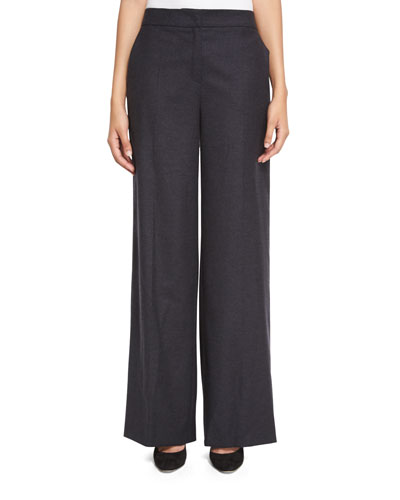 Tems Wide-Leg Flannel Pants, Anthracite