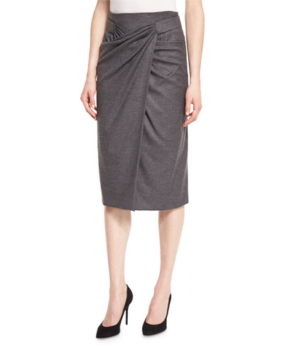 Faux-Wrap Midi Skirt, Flannel