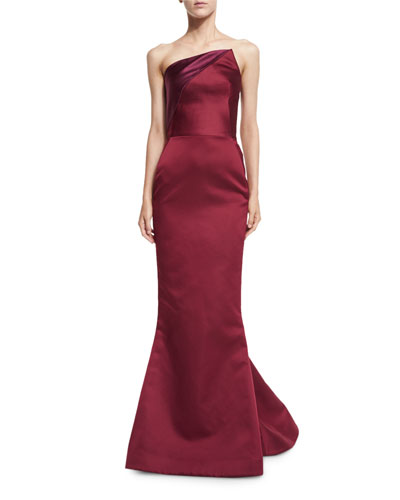 Strapless Angled Satin Trumpet Gown, Burgundy