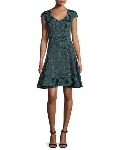 Floral-Print Cap-Sleeve Party Dress, Teal/Midnight