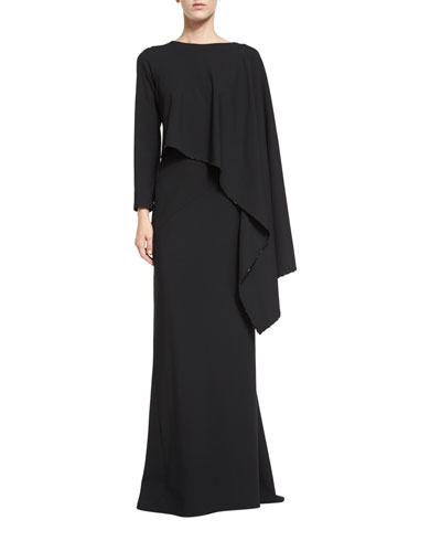 Long-Sleeve Draped Column Gown, Black