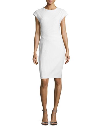 Cap-Sleeve Paneled Pencil Dress, Winter White