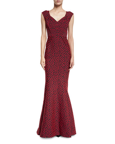 Cap-Sleeve Floral-Print Sweetheart Gown, Red/Multi
