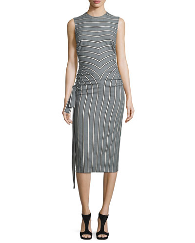 Striped Ruched-Side Sleeveless Dress, Gray/Multi