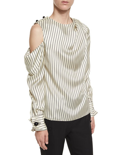 Pinstripe Cold-Shoulder Blouse, Ivory/Black