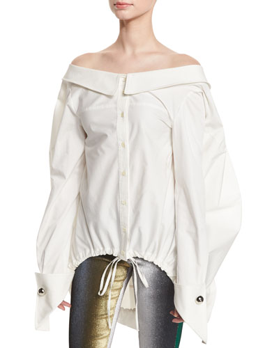Off-the-Shoulder Drawstring-Hem Blouse, White