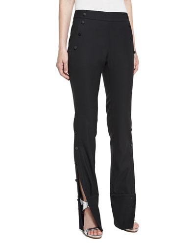 Side-Button Sailor Pants, Black