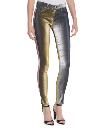 Metallic Slim-Leg Jeans, Multicolor