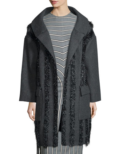 Tinsel-Trim Drop-Shoulder Coat, Charcoal/Black