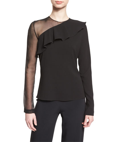 Bella Ruffled Long-Sleeve Blouse, Black