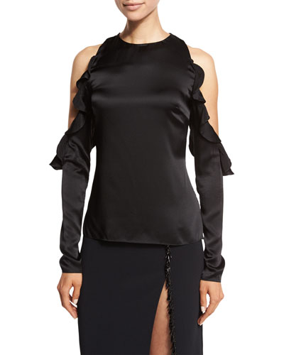 Ruffled Cold-Shoulder Satin Blouse, Black