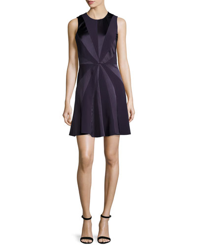 Tallulah Sleeveless Starburst Dress, Aubergine