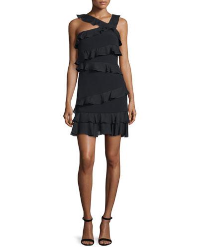 Isadora Asymmetric Ruffled Dress, Black
