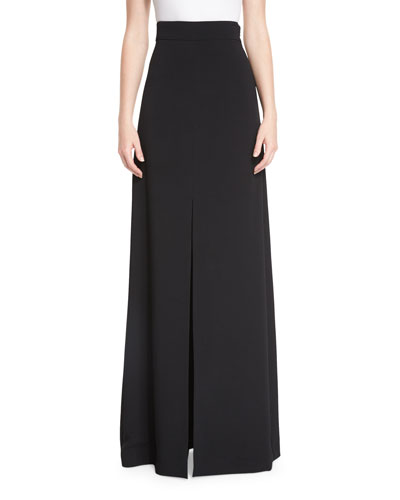 High-Waist Front-Slit Maxi Skirt, Black