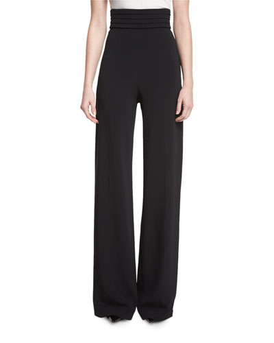 Cummerbund High-Waist Trousers, Black