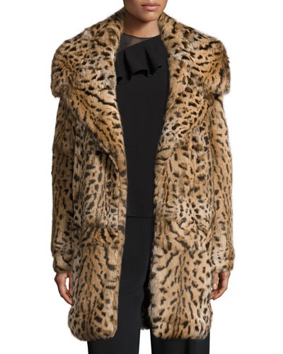 Leopard-Print Rabbit-Fur Oversized Coat, Leopard