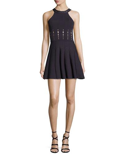Cutout Halter Knit Dress, Aubergine