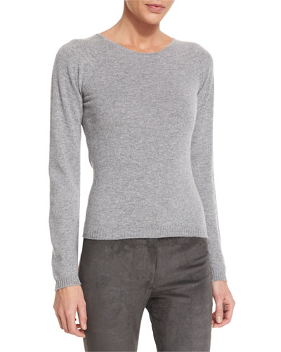 Cashmere Long-Sleeve Sweater, Flannel