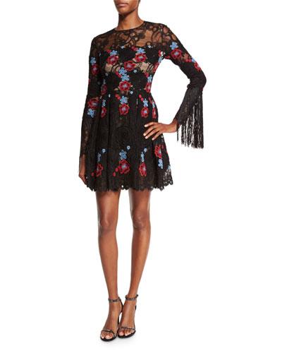 Floral-Lace Fringe Long-Sleeve Dress, Black/Multi