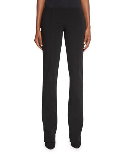 Seamed Straight-Leg Pants, Black