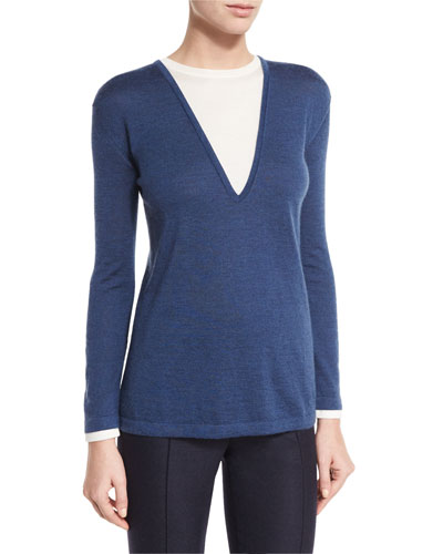 Bicolor Long-Sleeve Knit Tunic, Blue