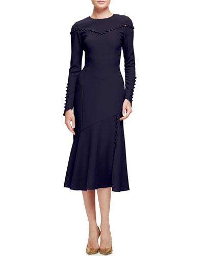 Button-Trim Long-Sleeve Midi Dress, Navy