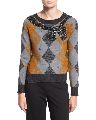 Argyle Sweater w/Sequined Bow, Ochre