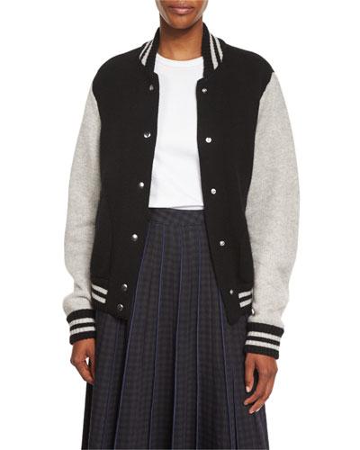 Colorblock Knit Varsity Jacket, Black/White/Multi
