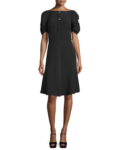 Puff-Sleeve Button-Front Dress, Black