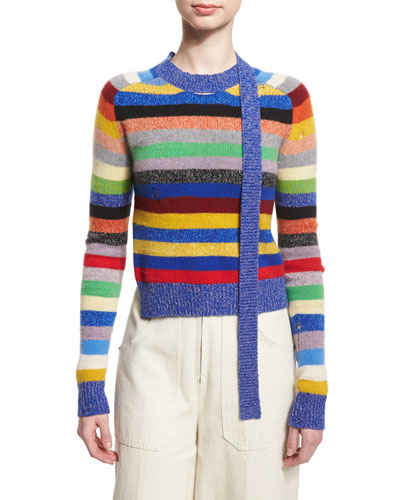 Striped Tattered Crewneck Sweater, Bright Multi