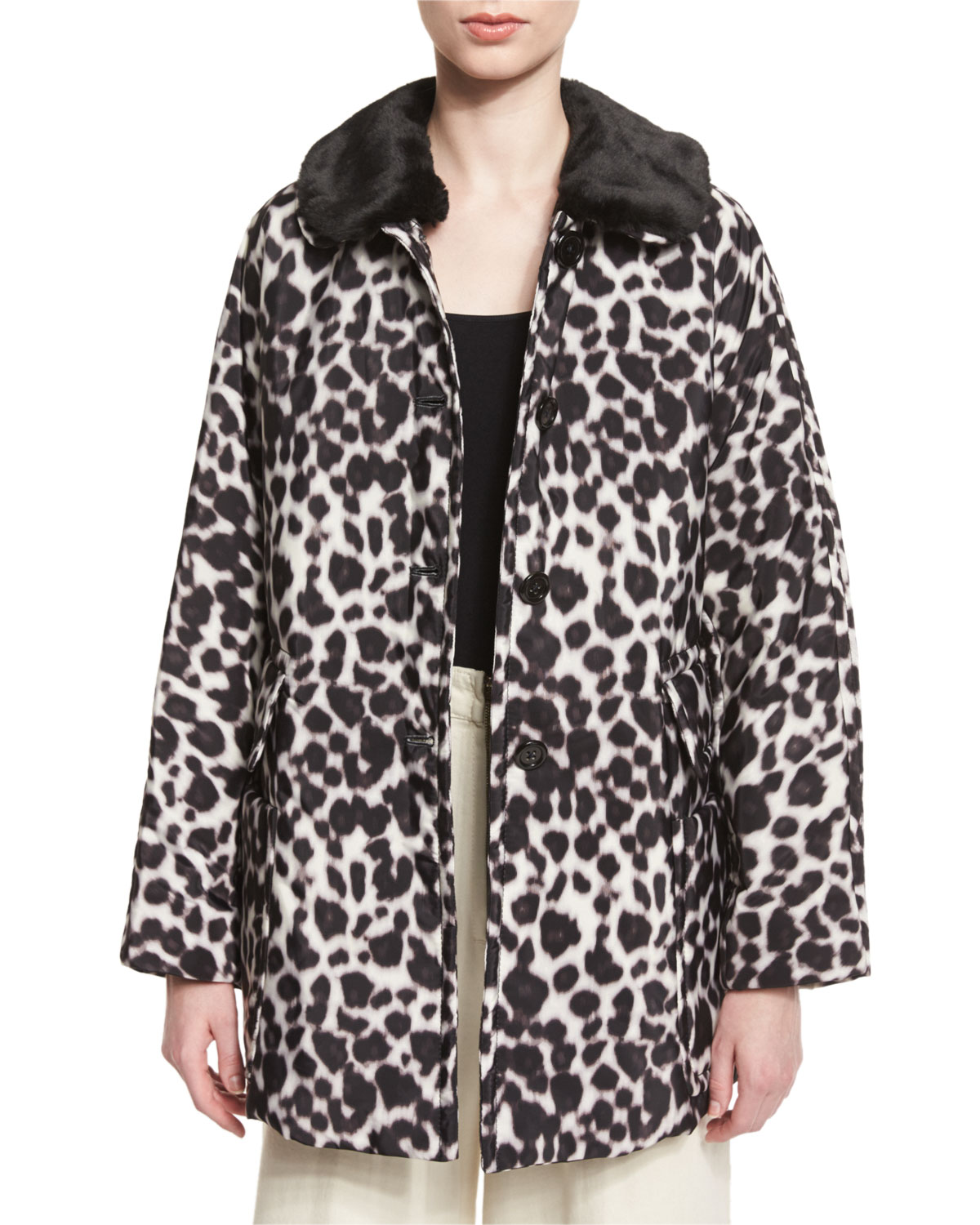 Leopard-Print Coat with Faux-Fur Collar, Ivory/Multi