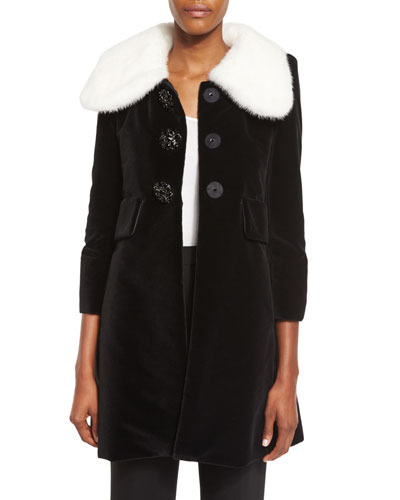 Mink Fur-Collar Velvet A-Line Coat, Black