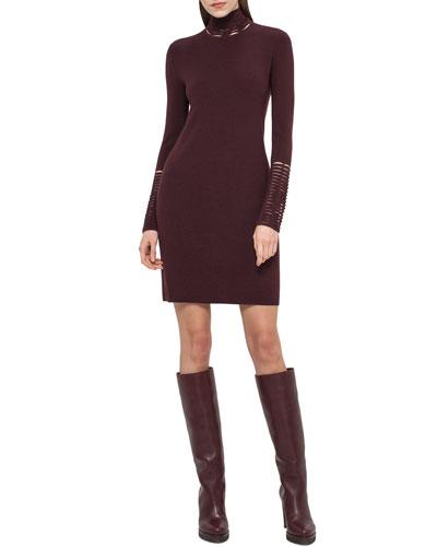 Cutout Long-Sleeve Tunic Dress, Mangosteen