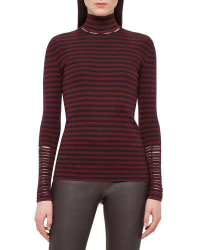 Long-Sleeve Cashmere/Silk Mock-Neck Pullover, Mangosteen/Aubergine