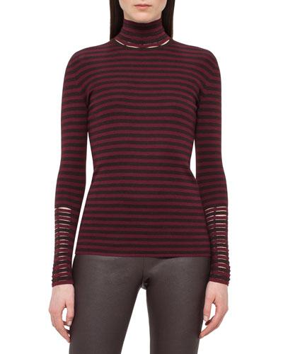 Long-Sleeve Cashmere/Silk Mock-Neck Pullover, Mangosteen/Aubergine