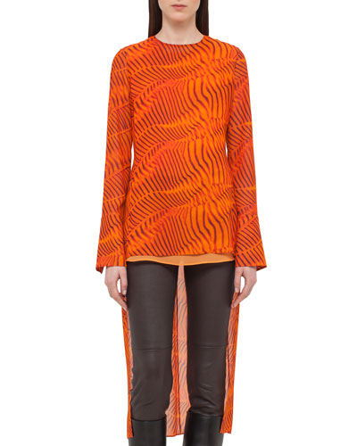 Zebra-Print High-Low Tunic Blouse, Orange
